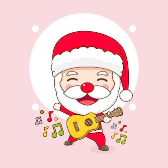 Netter weihnachtsmann, der gitarren-chibi-cartoon-figur spielt