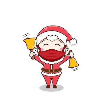 Netter weihnachtsmann, der glocken mit maske spielt