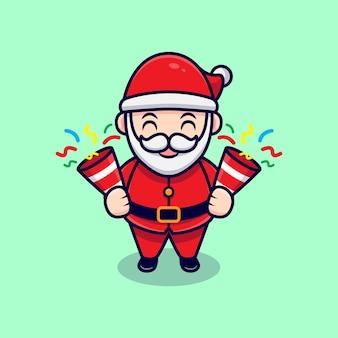 Netter weihnachtsmann, der konfetti-maskottchen-karikatur-illustration hält.