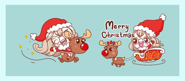 Netter weihnachtsmann, der rentier reitet und glücklich lokalisiert auf frohen weihnachtshintergrund mit charakterentwurf.