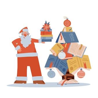 Netter weihnachtsmann, der stapel bücher in der nähe des weihnachtsbaums aus büchern hält