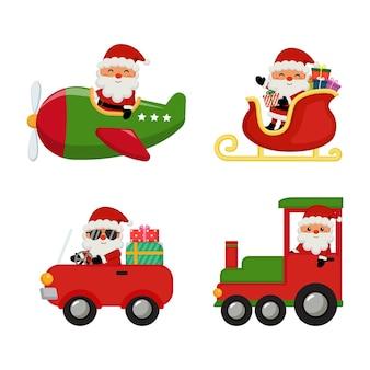Netter weihnachtsmann, der verschiedene transportmittel reitet, um weihnachtsgeschenke zu liefern