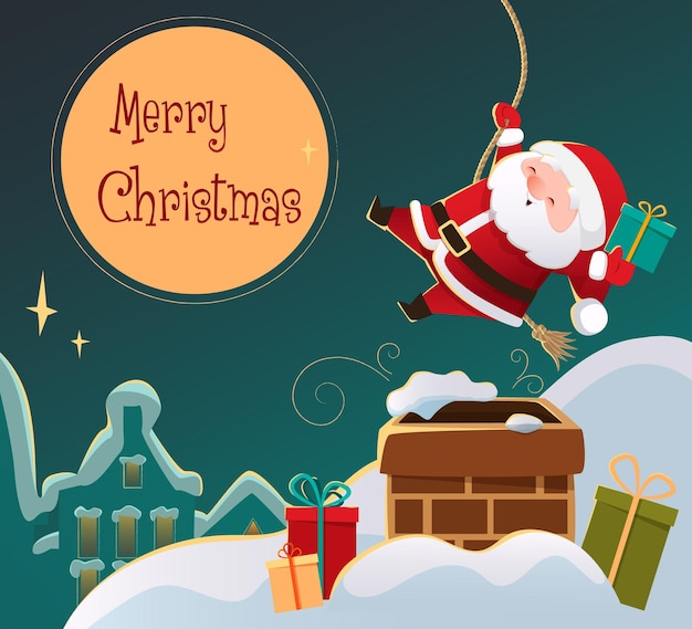 Netter weihnachtsmann geht den schornstein auf dem dach des hauses weihnachtskartenhintergrund hinunter vektor