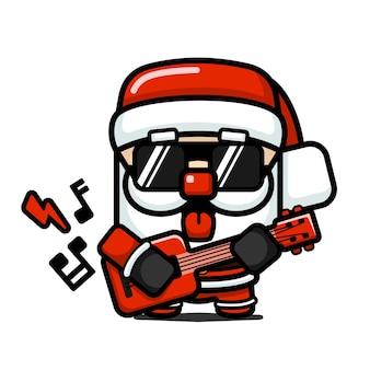 Netter weihnachtsmann im würfelstil, der e-gitarre spielt