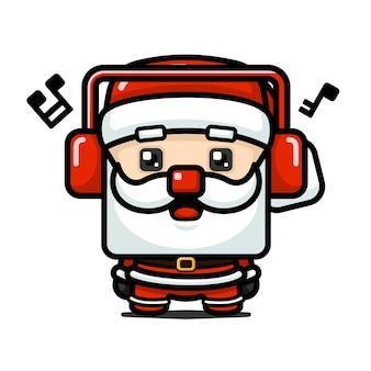 Netter weihnachtsmann im würfelstil mit kopfhörer