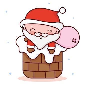netter weihnachtsmann-karikatur-kawaii-stil