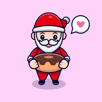 Netter weihnachtsmann liebt dessert cartoon icon illustration. flacher cartoon-stil