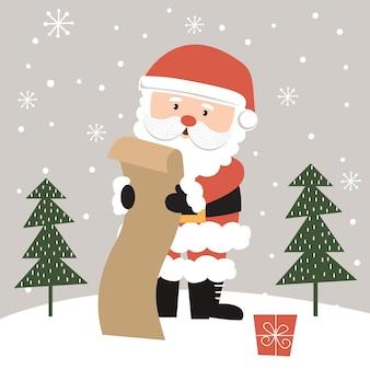 Netter weihnachtsmann liest die geschenkliste, illustration