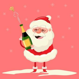 Netter weihnachtsmann mit champagnerflaschenexplosion weihnachtskarikatur lustiger charakter auf schneeflockenhintergrund.