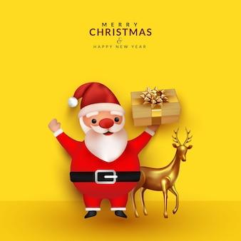 Netter weihnachtsmann mit geschenkbox und hirschillustration