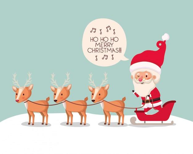 Netter weihnachtsmann mit rencharakter