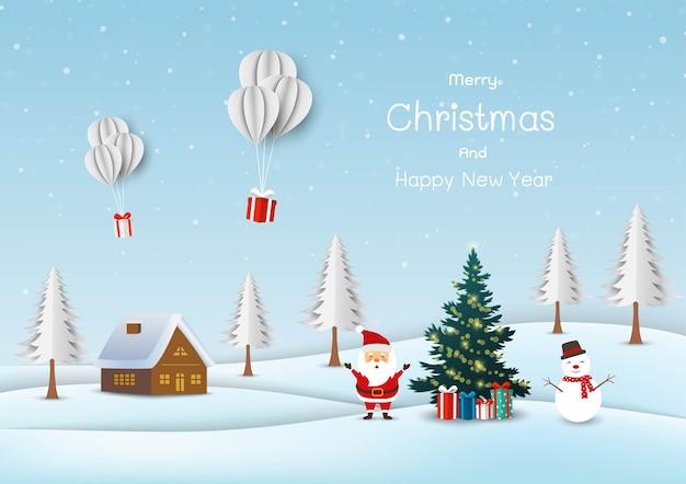 Netter weihnachtsmann mit schneemann glücklich auf schneedorfhintergrund