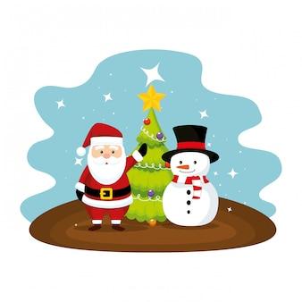 Netter weihnachtsmann mit schneemanncharakter