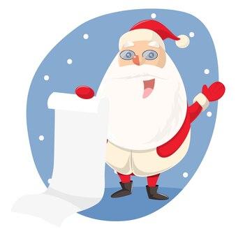 Netter Weihnachtsmann mit Wunschliste.
