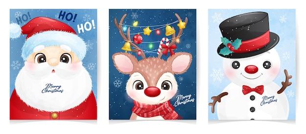 Netter weihnachtsmann-satz stellte für weihnachten mit aquarellillustration ein