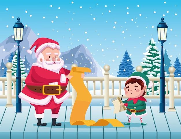 Netter weihnachtsmann und helfer, der geschenkliste in schneelandschaftsillustration liest