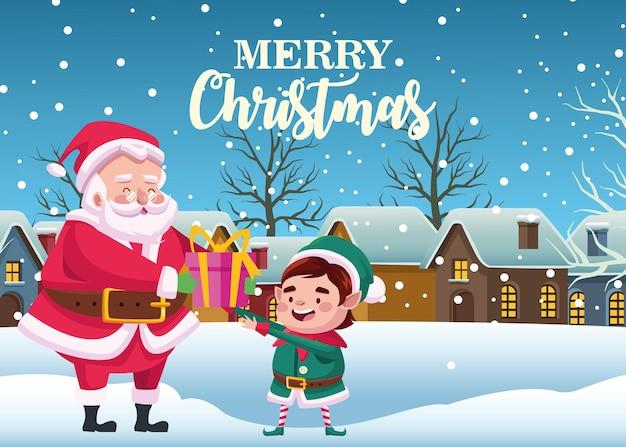 Netter weihnachtsmann und helfer mit geschenk in schneelandschaftsszenenillustration