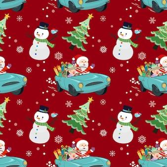 Netter weihnachtsmann und hirsch fahren ein auto mit nahtlosem geschenkmuster.