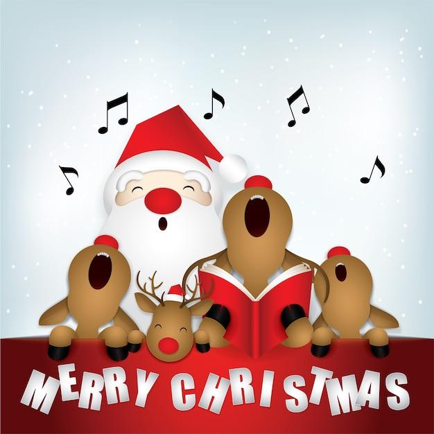 Netter weihnachtsmann und rotwild, die frohe weihnachten singen.