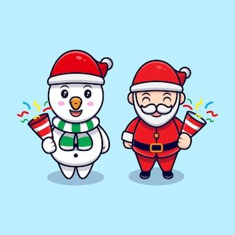 Netter weihnachtsmann und schneemann, die konfetti-maskottchen-karikatur-illustration halten.
