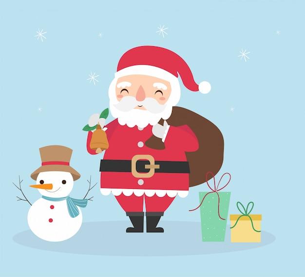 Netter weihnachtsmann und schneemann mit geschenken für weihnachtsfest