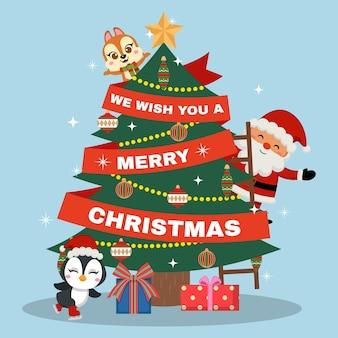 Netter weihnachtsmann und tierfreunde, die einen weihnachtsbaum schmücken