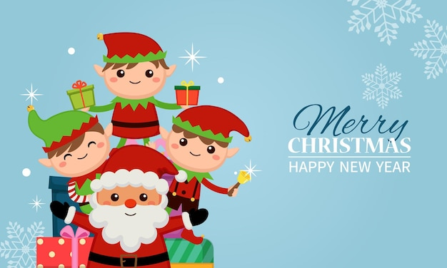 Netter weihnachtsmann und weihnachtselfen, die feiertage mit geschenken feiern