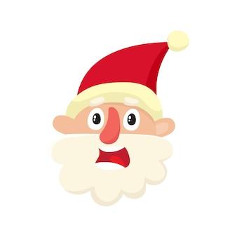 Netter weihnachtsmann, verärgert, verwirrter gesichtsausdruck, karikaturillustration lokalisiert auf weißem hintergrund, altes mann-emoji-gesicht, besorgt, verwirrt frustriert.