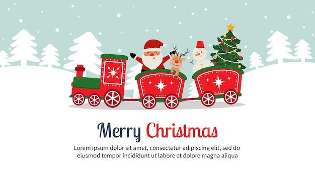 Netter weihnachtsmann-weihnachtsmannzug mit rentier- und schneemann-weihnachtslandschafts-flachvektor-karikaturstil