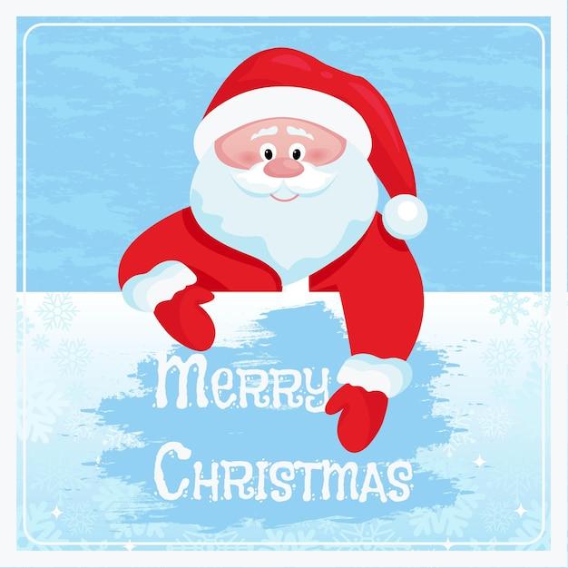 Netter weihnachtsmann wischt gefrorenes glas frohe weihnachten grußkarte cartoonvector illustration Premium Vektoren