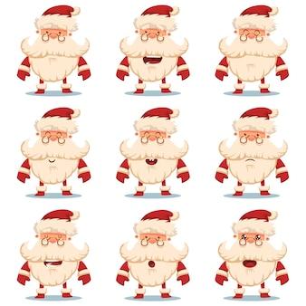 Netter weihnachtsmann-zeichentrickfilm-zeichensatz mit verschiedenen emotionen. dekorative weihnachtselemente auf weißem hintergrund.