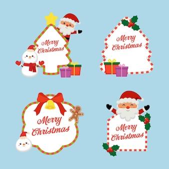 Netter weihnachtsrahmen verziert mit schneemann und weihnachtsmann-set
