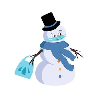 Netter weihnachtsschneemann mit traurigen emotionen, gesicht und maske halten abstand, hände mit einkaufstasche und stoppgeste. frohe festliche dekoration des neuen jahres mit depressionsausdruck
