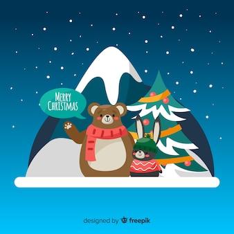 Netter weihnachtstierhintergrund