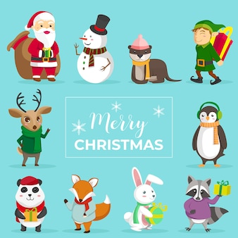 Netter weihnachtstierzeichensatz