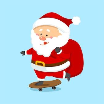 Netter weihnachtsweihnachtsmann auf skateboard