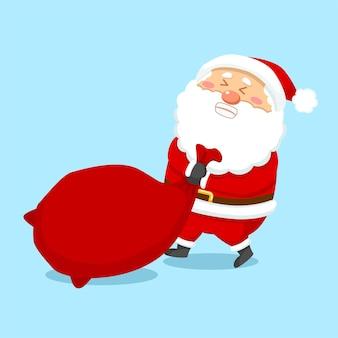 Netter weihnachtsweihnachtsmann, der geschenktüte schleppt