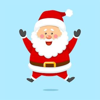 Netter weihnachtsweihnachtsmann, der glücklich springt