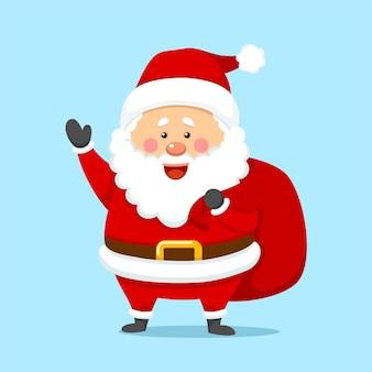 Netter weihnachtsweihnachtsmann mit geschenktüte