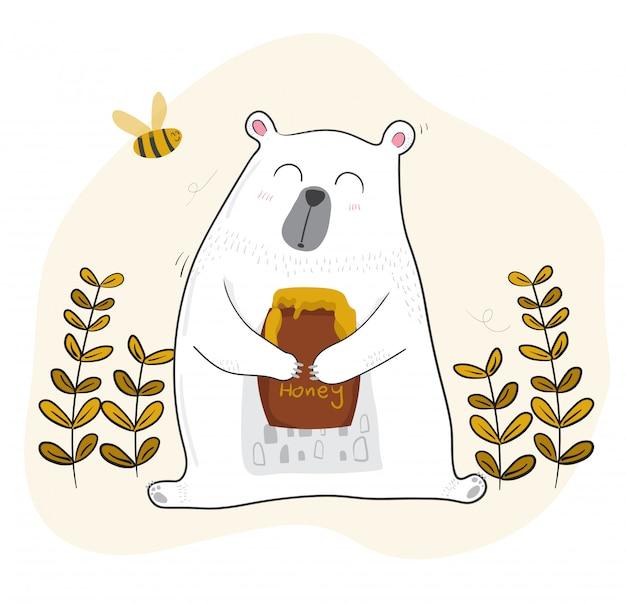Netter weißer bär, der honig mit einer kleinen biene isst
