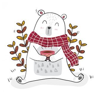 Netter weißer bär, der jahreszeit des kaffees mit einer kleinen biene im frühjahr trinkt