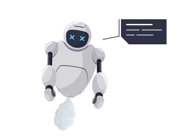 Netter weißer fliegender robotercharakter gebrochen. futuristisches chatbot-maskottchen mit sprechblase deaktiviert. tech-cartoon-online-bot-kommunikationsfehler. fehler beim sprechen der roboter-ki-assistenz. vektor-illustration