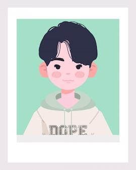 Netter weißer junge oder asiatischer junge illustration. cooler junge, der eine hoodie-illustration trägt. hübsche stilvolle jungenillustration.