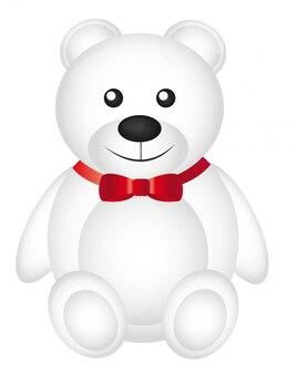Netter weißer teddybär mit roter bogenvektorillustration