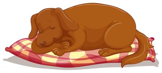 Netter welpe, der auf matratze schläft