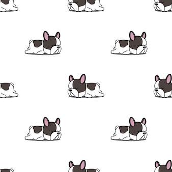 Netter welpe der französischen bulldogge, der nahtloses muster schläft