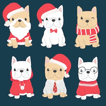 Netter welpe der französischen bulldogge in der weihnachtskostümsammlung
