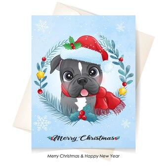 Netter welpe für weihnachten mit aquarellillustration