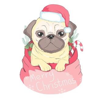 Netter welpe in einem weihnachtsmann-hut und -schal. vektor-illustration rassehund. frohe weihnachten grußkarte