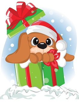 Netter welpe in geschenkboxen. illustrationsweihnachtskarte des reizenden hundes im kasten